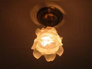 玄関にバラのガラスシェードを使った天井灯235sat-PB391を設置