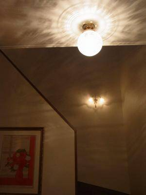 玄関の天井照明108E/SAT-PB394と階段照明wf340-2+360satの相性が抜群です