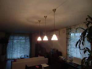 ダイニングテーブルの上のダクトレールからクリアなガラスが特徴的なペンダントライト477clr-rj5を食卓の上に3本吊るした実例写真