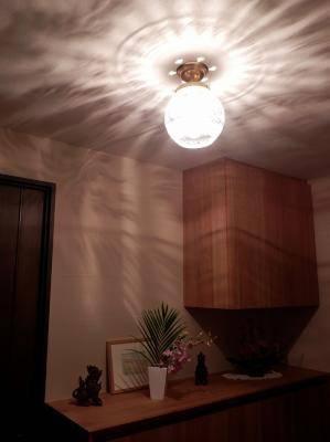 天井に映りこむ影が美しいPB394+355E/SATを玄関の照明として