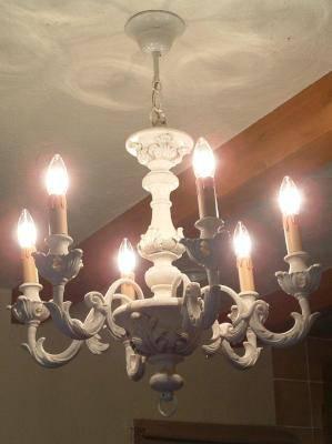 ダイニングルームの照明として木製の白いシャンデリアpw213-6