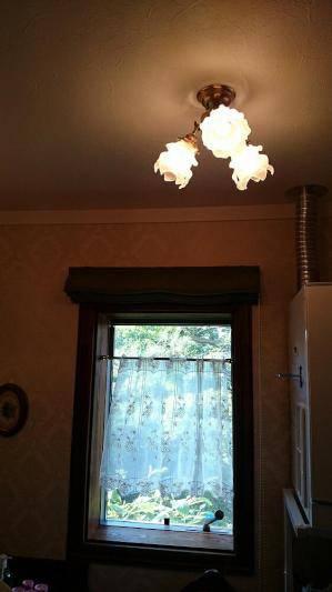 洗面所の天井の照明としてアンティーク風の天井灯pb615/3+235/sat-ランプ3個
