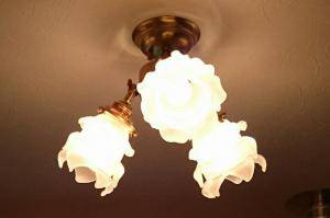 洗面所の照明として天井にトラディショナルでアンティークなpb615/3+235/satの天井灯