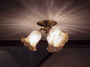 エッチング模様のガラスが美しい天井灯pb503f3+361ecogを玄関の照明として
